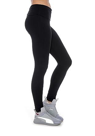 Amazon.com: Fold-Over Waistband Stretchy Yoga Pants Comfy Yoga ...
