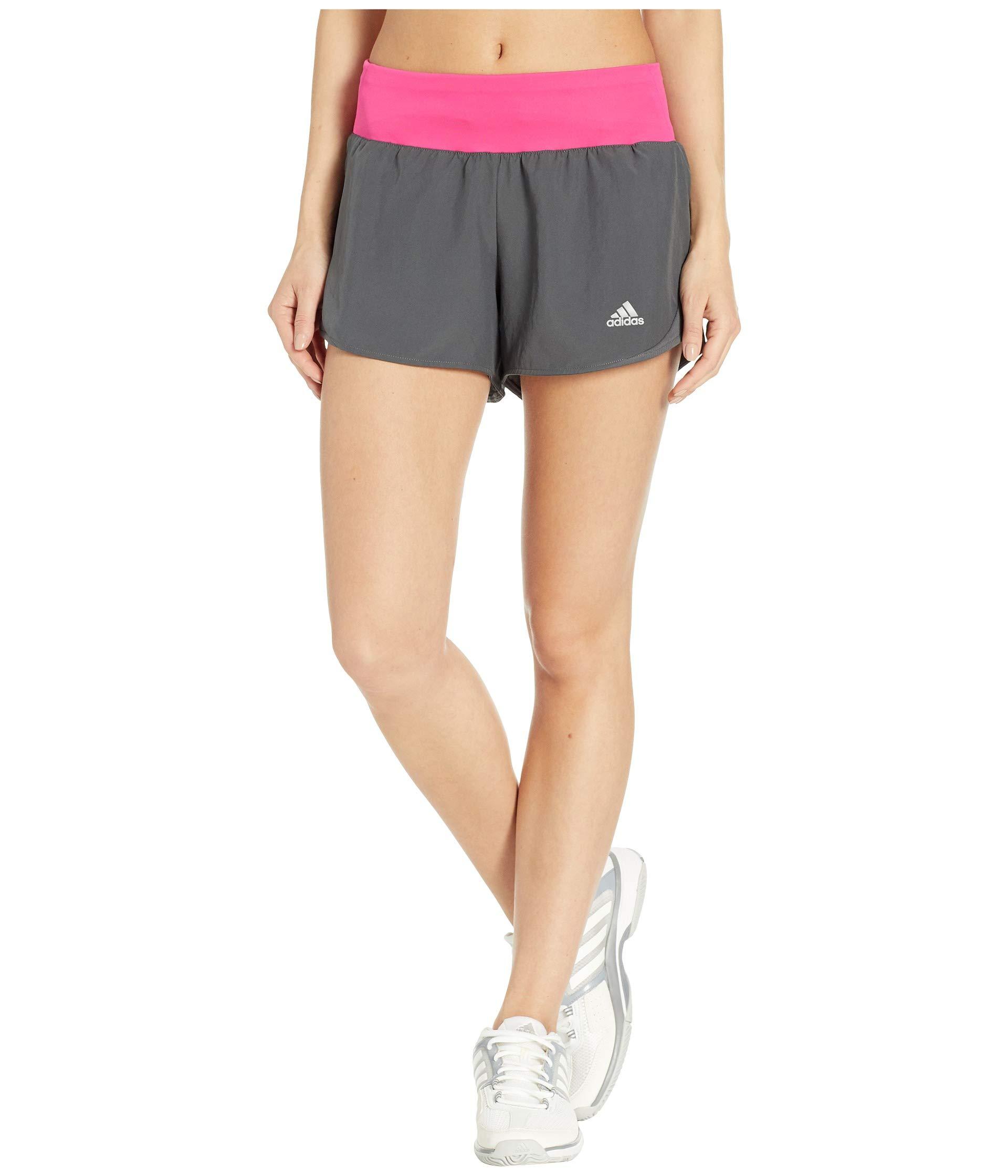 adidas Women's Run It Shorts, Grey/Real Magenta, X-Small 3''