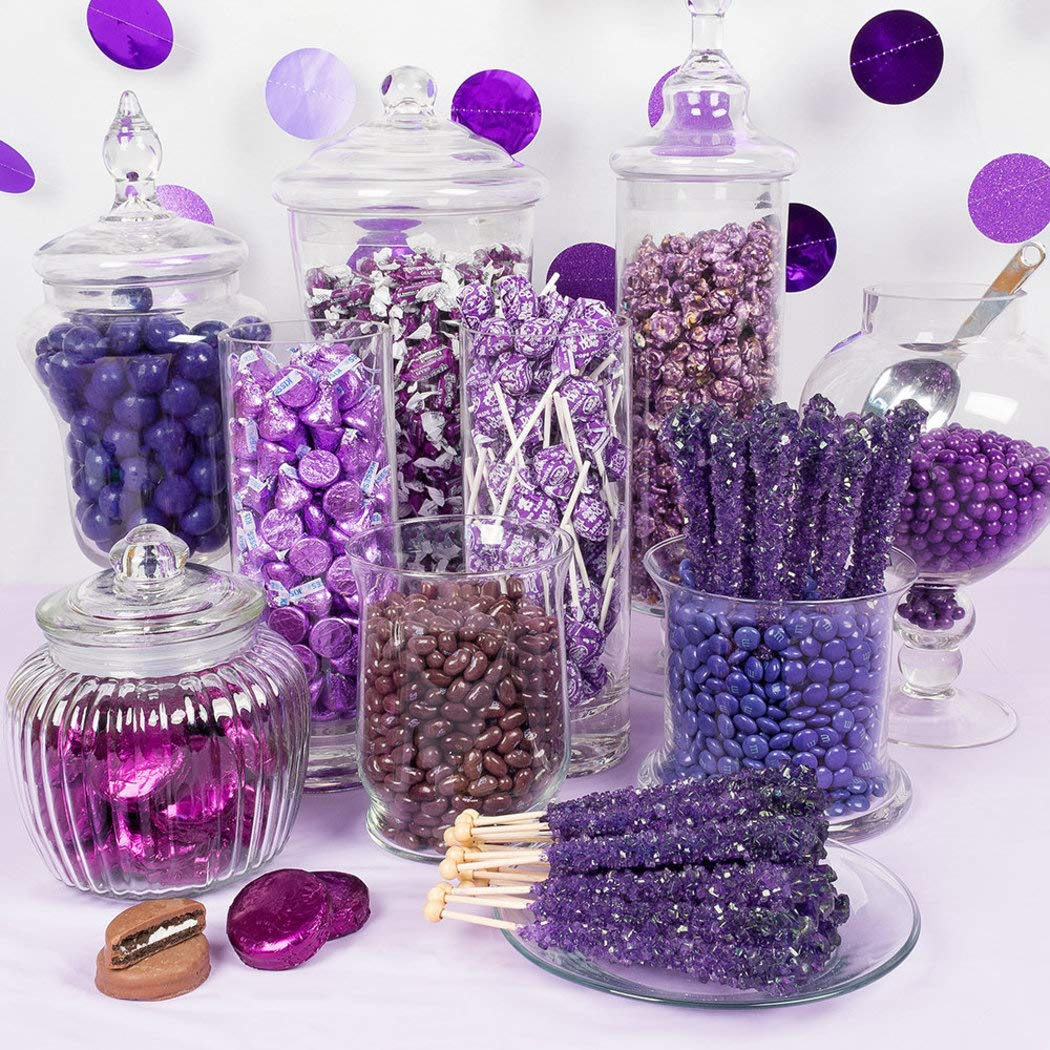 Premium Purple Candy Buffet - (15+ Pounds) Includes Hershey's Kisses, M&M's, Candy Coated Popcorn, Jelly Belly Jelly Beans & More - Feeds approx 24-36 people