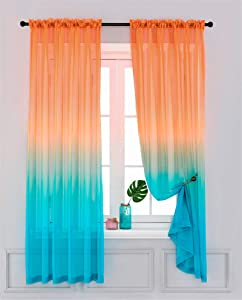 "Yancorp Sheer Curtains 2 Panels Voile Ombre Drapes Reversible for Girls Living Room Bedroom Kitchen Window Home Decoration 63 72 84 96 inches Long White Pink Blue Purple (Orange Green, 40""x96"")"