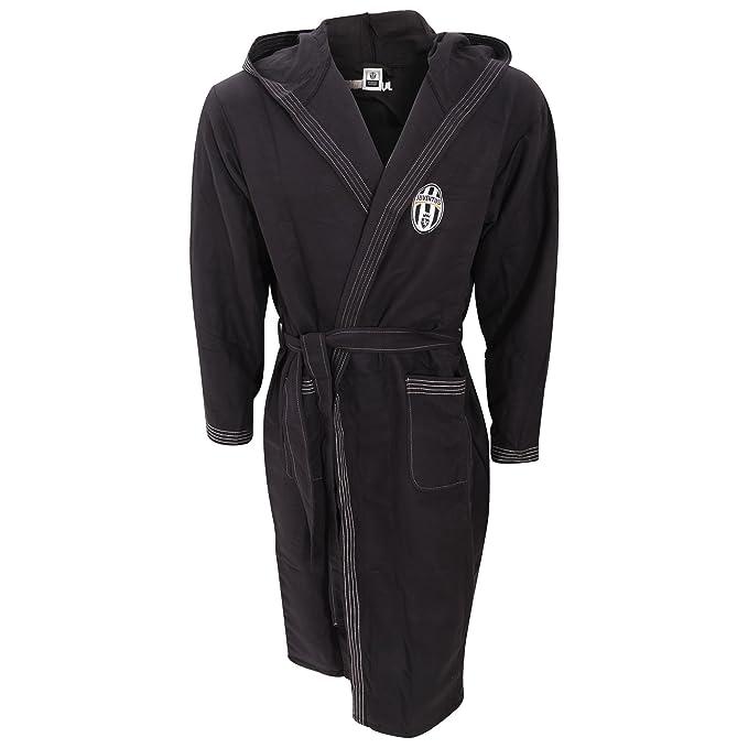 e6d2a25916 Juventus Mens Official Football Crest Hooded Dressing Gown Bath Robe  (Medium) (Black