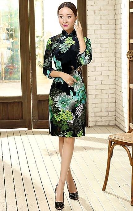 Yue Lian Frauen Qipao Chinesisch Kostüm 3/4 Ärmel Blätter Muster Etuikleid  (44—Tag3XL): Amazon.de: Bekleidung