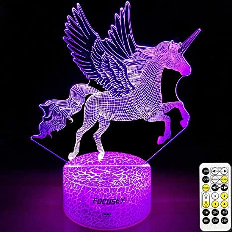 LED Night Light with Carousel Pattern,7 Colors Changing with USB Cable,Touch Remote Control Best for Children Gift Baby Bedroom and Party Decorations.