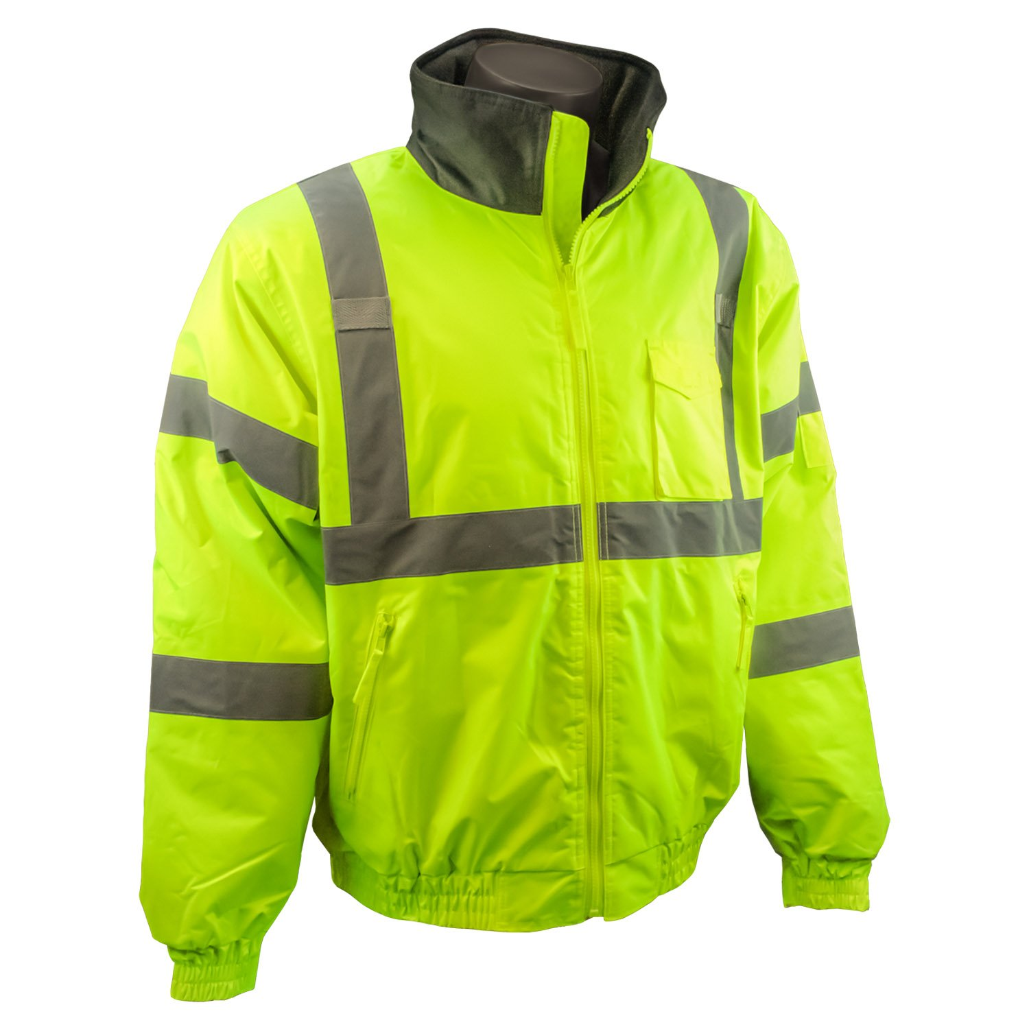 Radians SJ11Q-3ZGS-L Class3 Weather Proof Bomber Jacket with Quilted Built-In Liner, Lime Green, Large