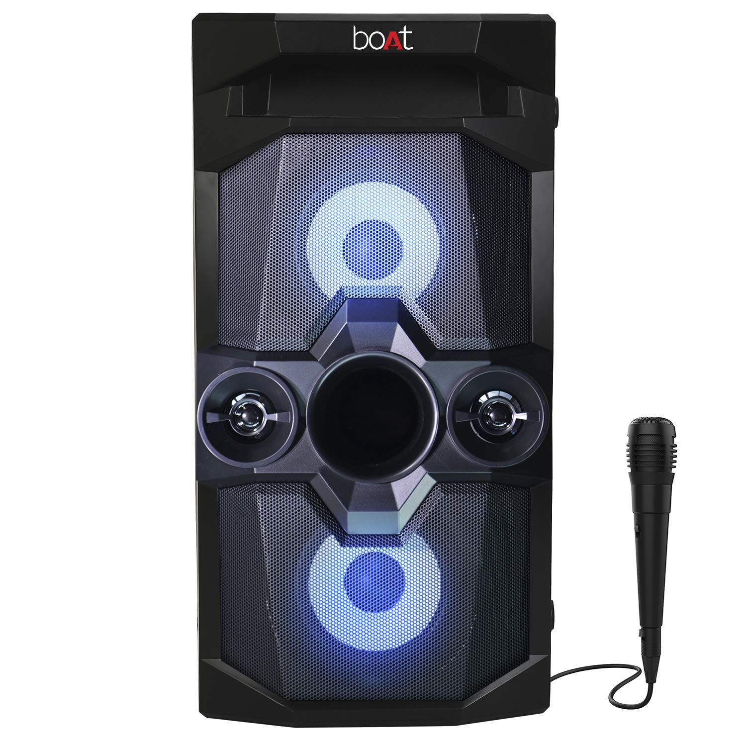 boAt PartyPal 70 Portable Bluetooth Speaker, 30W R.M.S Sound, TF/USB/AUX-in/FM Radio, Karaoke Compatible with Free Microphone, True Wireless Function, Integrated Controls & in-Built Mic (Space Black)
