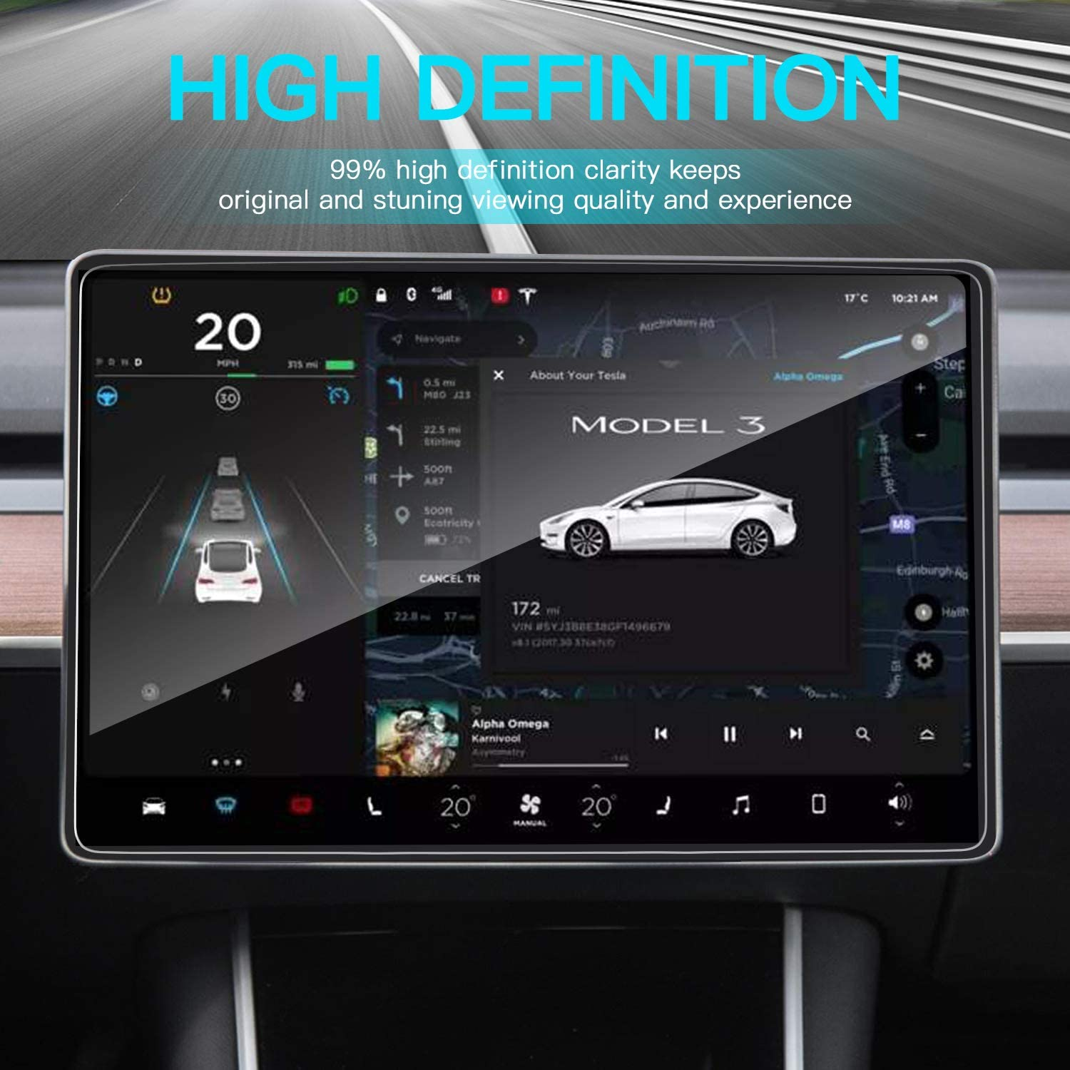 15 Tempered Glass Screen Protector Compatible with Tesla Model 3 Model Y Center Control Touchscreen Car Navigation Screen Protector Shock Resistant /& Anti-Fingerprint