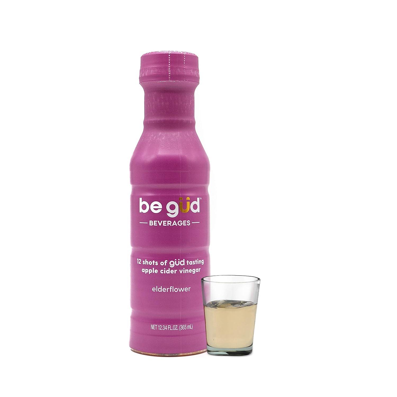 Be Gud Beverages Apple Cider Vinegar Shots – Bottle of 12 Daily Shots of Apple Cider Vinegar with Natural Elderflower Flavor – Great Tasting ACV Shots Support Detox + Immunity, One 12 oz Bottle