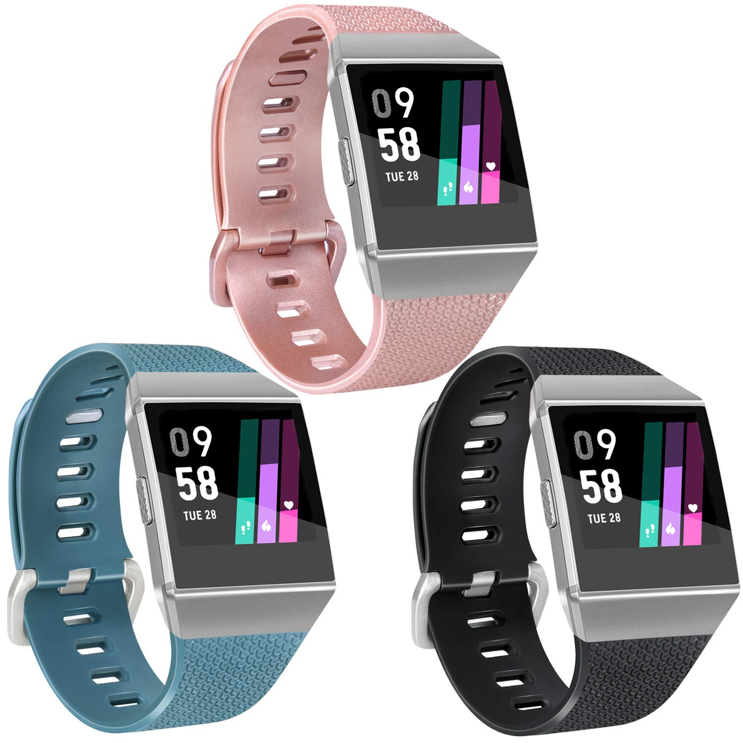 Vancle Sport Bands Compatible with Fitbit Ionic Smartwatch, 3 Pack