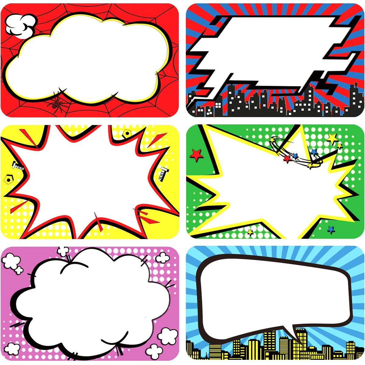1 Roll Superhero Name Tags 200 Perforated Stickers Labels for Office School Home Fancy Land