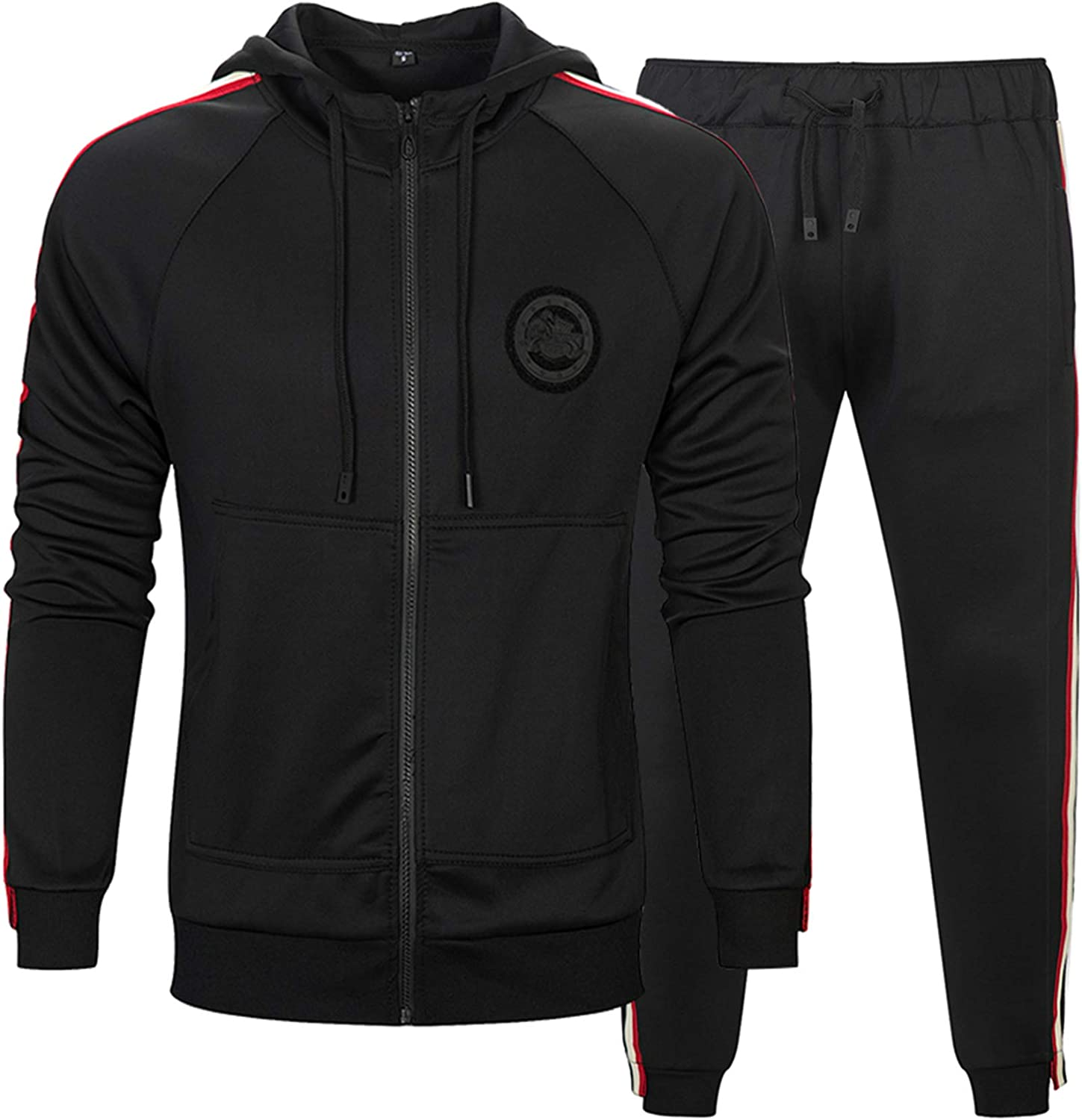 MACHLAB Mens Athletic Suit Sports Set Jogging Sweatsuits Full Zip Track Suits Casual Tracksuits