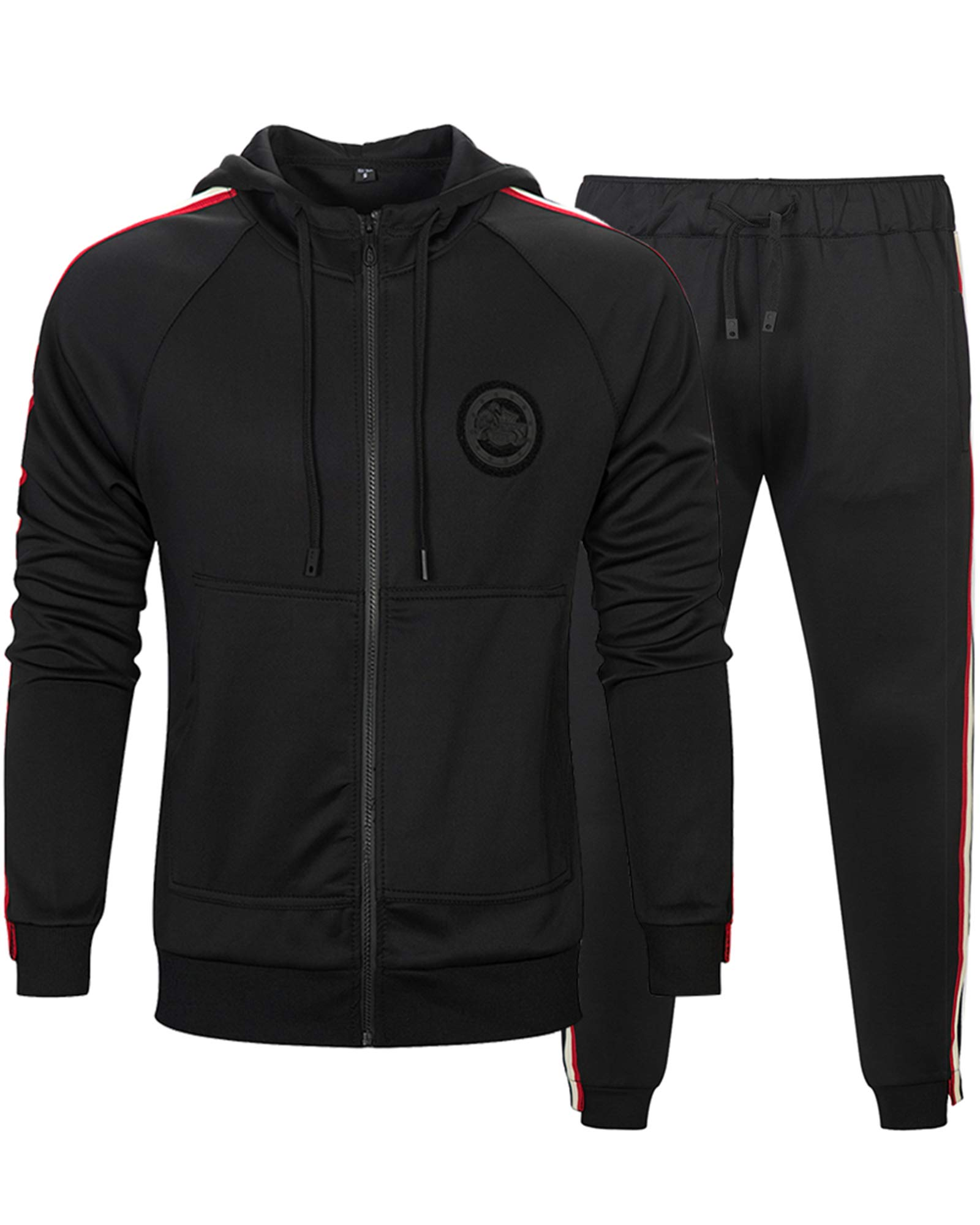MACHLAB Men's Activewear Sports Jogging Sweat Suits Running TracksuitBlack XL
