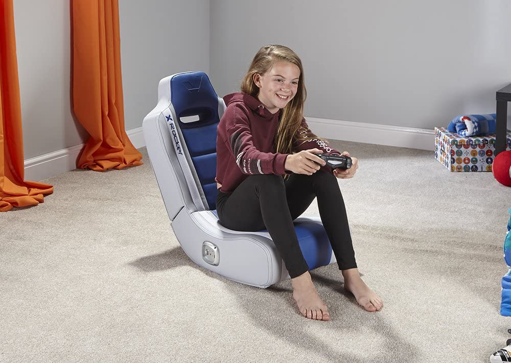 X Rocker Hydra 2.0 Floor Rocker Gaming Chair with 2.0 Audio System (Red) Blue