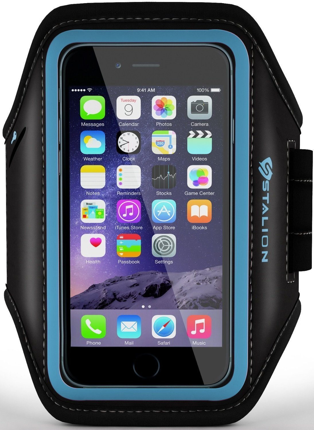 iPod Touch Armband: Stalion Sports Running & Exercise Gym Sportband (Cyan Blue) Water Resistant + Sweat Proof (for Apple iPod Touch 5th & 6th Gen)