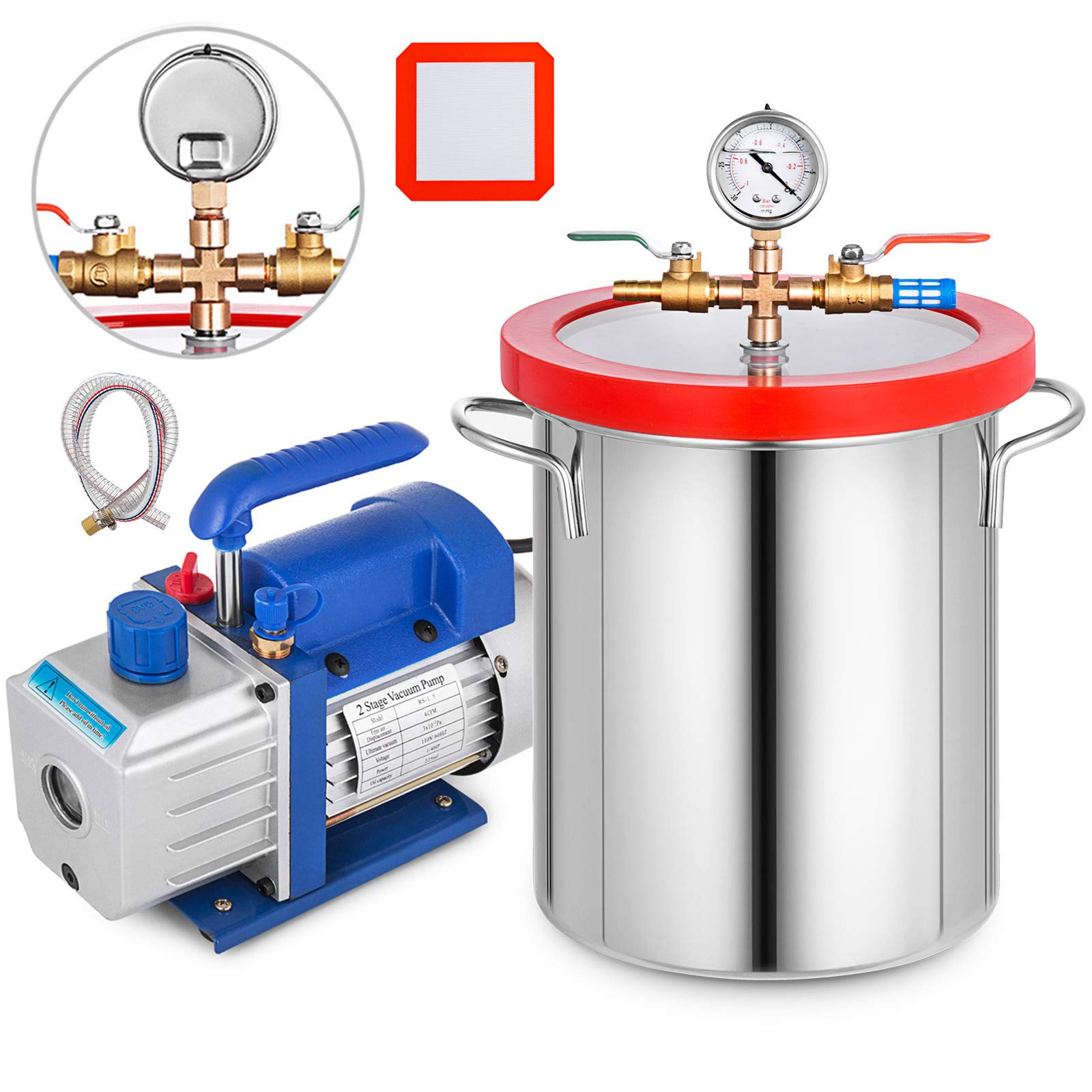 Bestauto 3 Gallon Vacuum Chamber Kit Stainless Steel Degassing Chamber 12L Vacuum Degassing Chmaber Kit with 4CFM Two Stage Vacuum Pump Kit (4CFM Vacuum Pump 2 Stage + 3 Gallon Vacuum Chamber) by Best In Auto