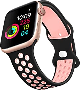 Sport Bands Compatible with Apple Watch 44mm 42mm 40mm 38mm for Women Men Classic Clasp Waterproof Soft Silicone Replacement Strap for iWatch Series 6/5/4/3/2/1/SE Nike+