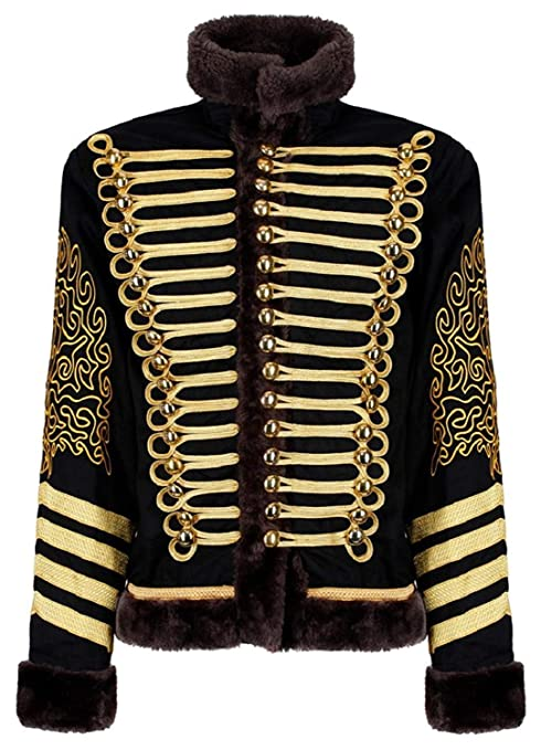 60s -70s  Men's Costumes : Hippie, Disco, Beatles Ro Rox Mens Black and Gold Hussar Steampunk Parade Jacket Faux Fur $99.99 AT vintagedancer.com