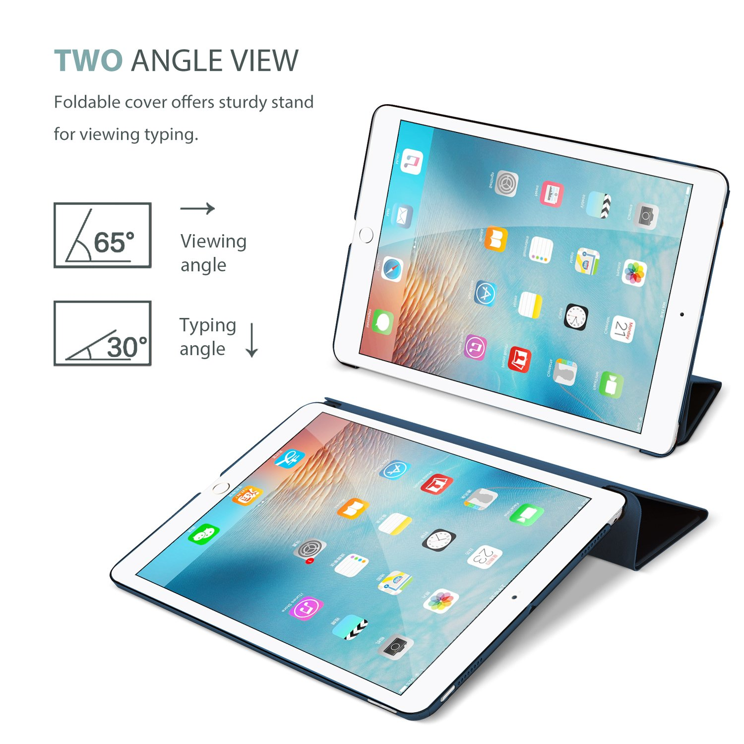 ProCase iPad 9.7 Case 2018 iPad 6th Generation Case / 2017 iPad 5th Generation Case - Ultra Slim Lightweight Stand Case with Translucent Frosted Back Smart Cover for Apple iPad 9.7 Inch -Navy Blue by ProCase (Image #5)