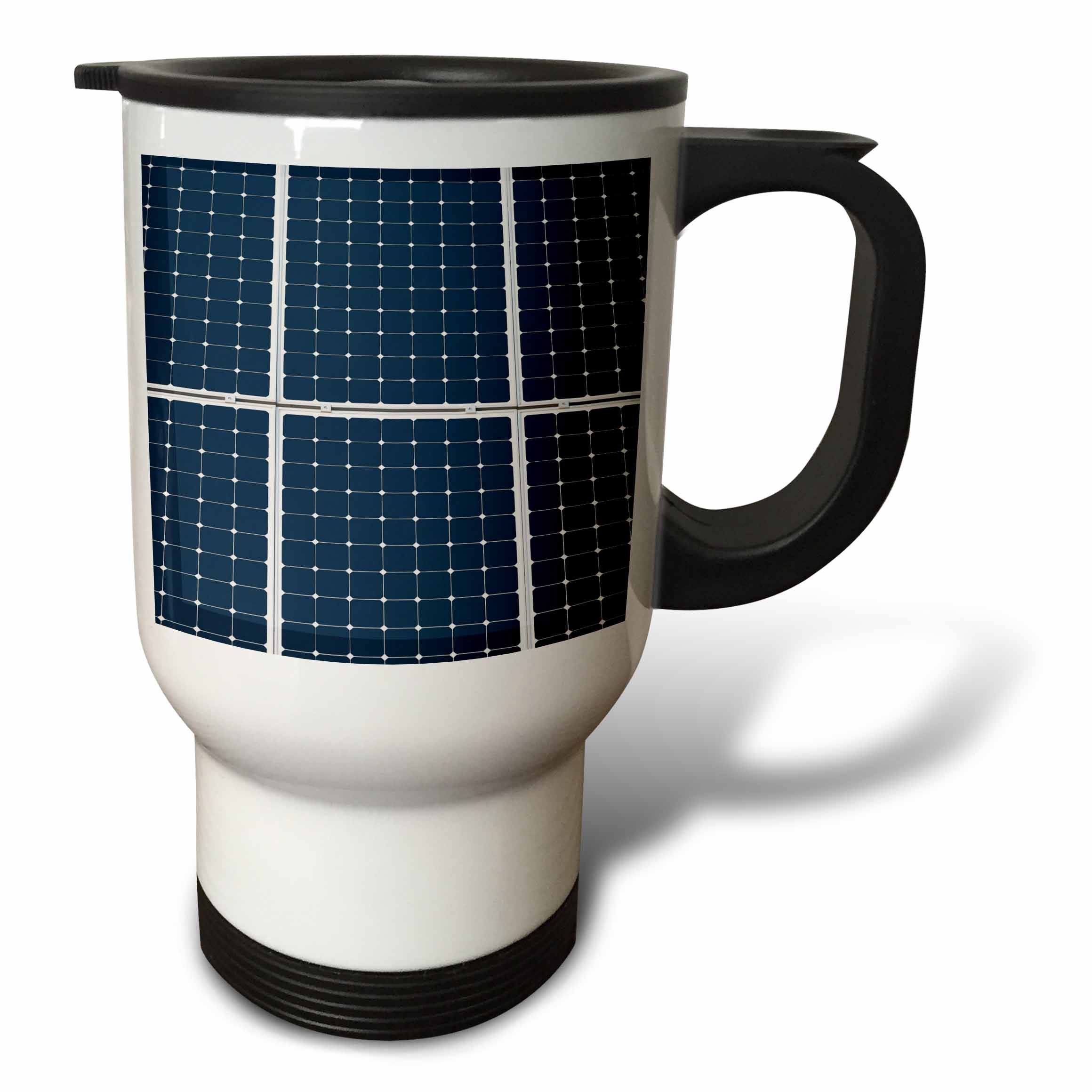 3dRose Alexis Photography - Objects - Image of solar power panel. Dark blue cells white grid - 14oz Stainless Steel Travel Mug (tm_264065_1)