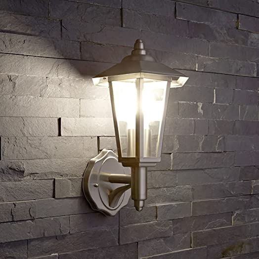 Stainless steel modern outdoor wall light lantern with e27 fitting stainless steel modern outdoor wall light lantern with e27 fitting no bulb aloadofball Image collections