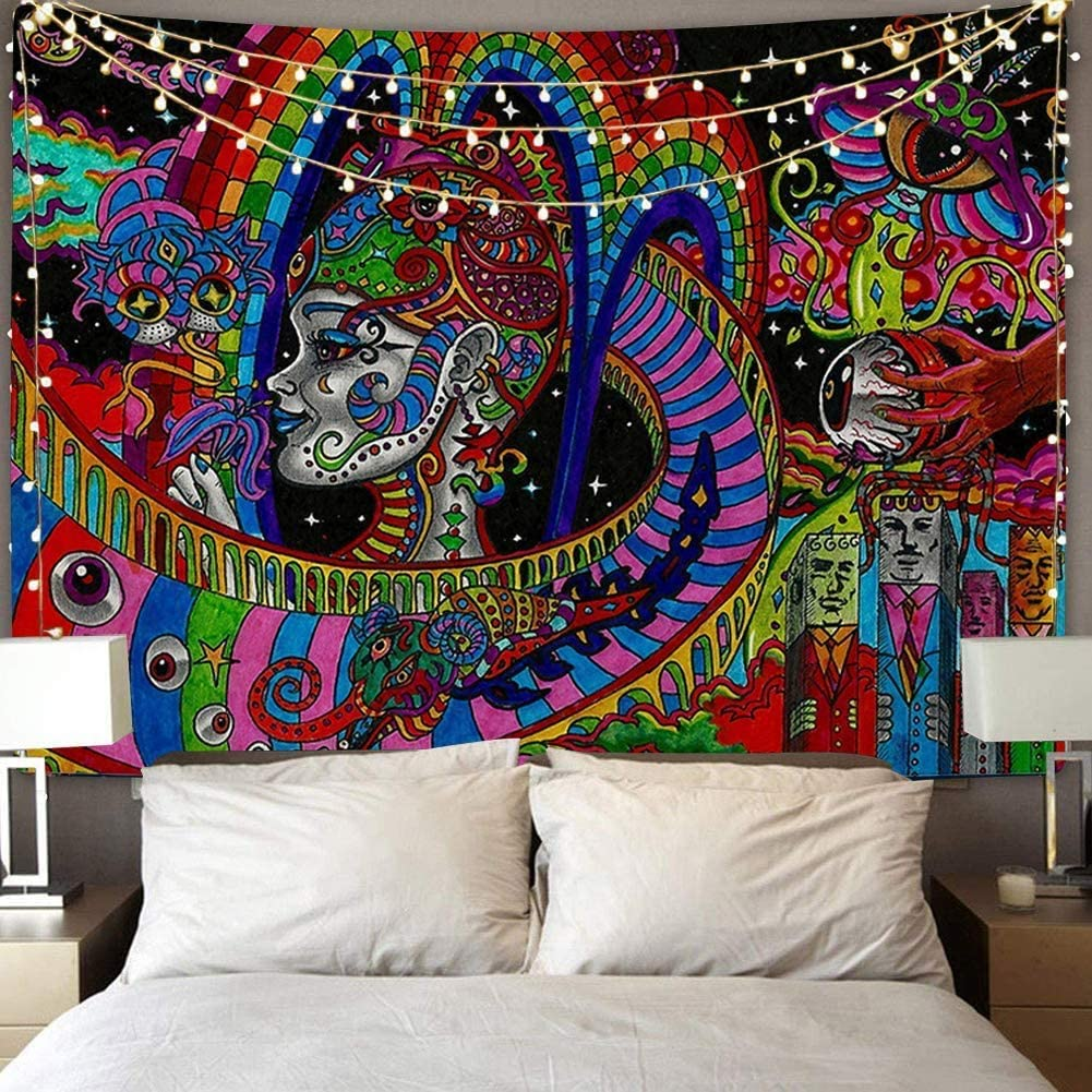 Amazon Com Qchengsan Psychedelic Tapestry Trippy Tapestry Wall Hanging Surreal Abstract Tapestries Multiple Color Hippie Tapestry Mysterious Abstract Tapestry For Bedroom Living Room Decor Y03 78x59 Inches Everything Else