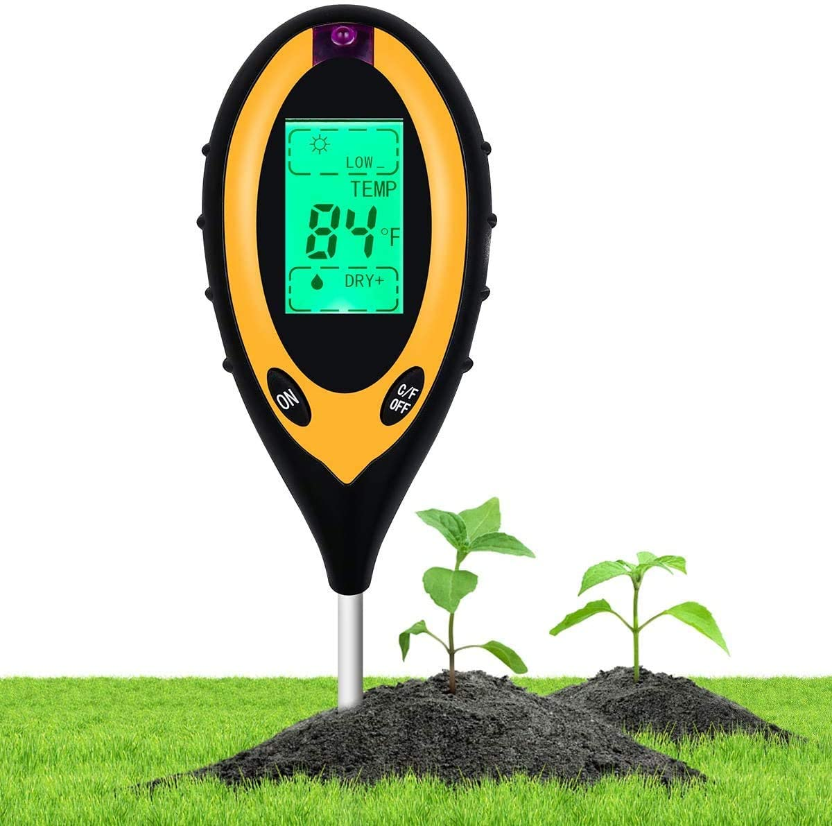 Beauty HAO 2021 Upgraded Soil pH Meter Soil Tester, 4 in 1 Soil Test Kit, pH Moisture Temperature Light Water Tester and Monitor, Testing Kits for Garden, Farm, Lawn, Indoor and Outdoor(H)