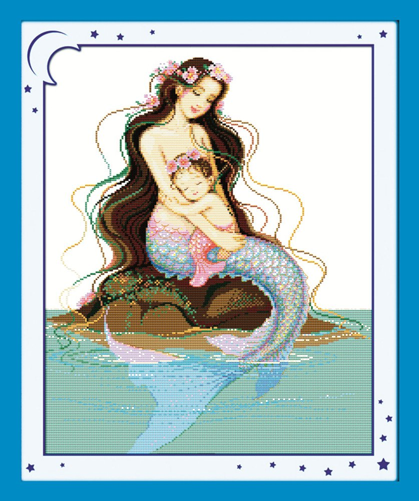 WHITE CaptainCrafts New Cross Stitch Kits Patterns Embroidery Kit Mermaid Mom Sons Deep Love