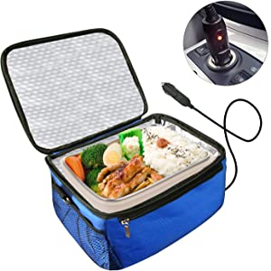 Portable Oven 12V Personal Food Warmer,Car Heating Lunch Box,Electric Slow Cooker For Meals Reheating & Raw Food Cooking for Road Trip/Office Work/Picnic/Camping/Family gathering(12V) (Blue)