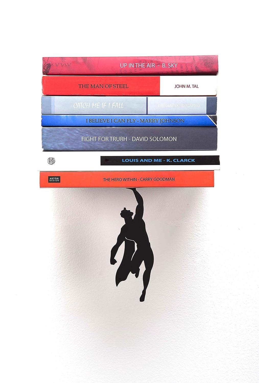 Artori Design Book Shelf | Black Metal Superhero Floating Bookshelf | Invisible Book Stack | Hidden Mount Shelf | Unique Book Shelves | Gifts for Geeks | Gifts for Book Lovers Supershelf