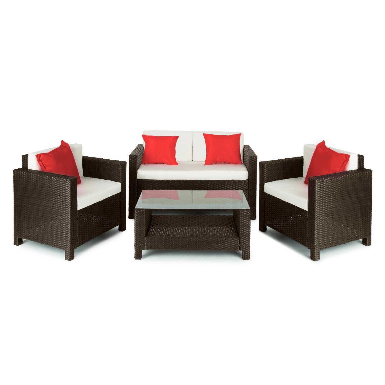Blumfeldt Verona Gartengarnitur 4-teiliges Gartenmöbel Set Sitzganitur für 4 Personen Polyrattan (2x Sessel, 1x 2-Sitzer Couch, 1x Tisch, aus Polyrattan) braun beige rot