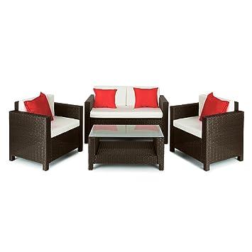 Blumfeldt Verona Juego de muebles para jardín 4 piezas Mimbre marrón/beige/rojo (conjunto butacas y mesa exterior, resistente intemperie / rayos UV, ...