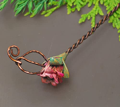 Twisted Wire Wrap Copper Hair Stick Chrysocolla Copper Hair Stick Green Gemstone Hair Stick Elven Leaf Hair Pin Thick Copper Hair Pin