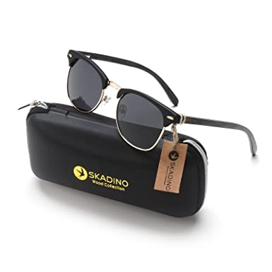 db226be6487 SKADINO Clubmaster Bamboo Wood Sunglasses with Polarized Lens-Black with  Grey Lens