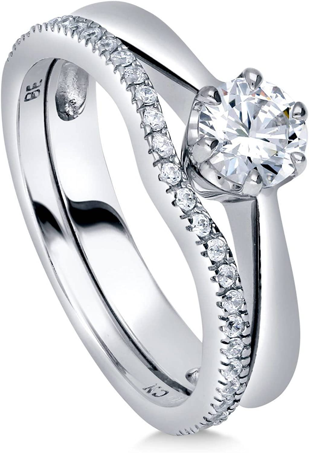 925 Silver 4 Claw Set 7mm Round Cz Solitaire Engagement Ring Rhodium Plated