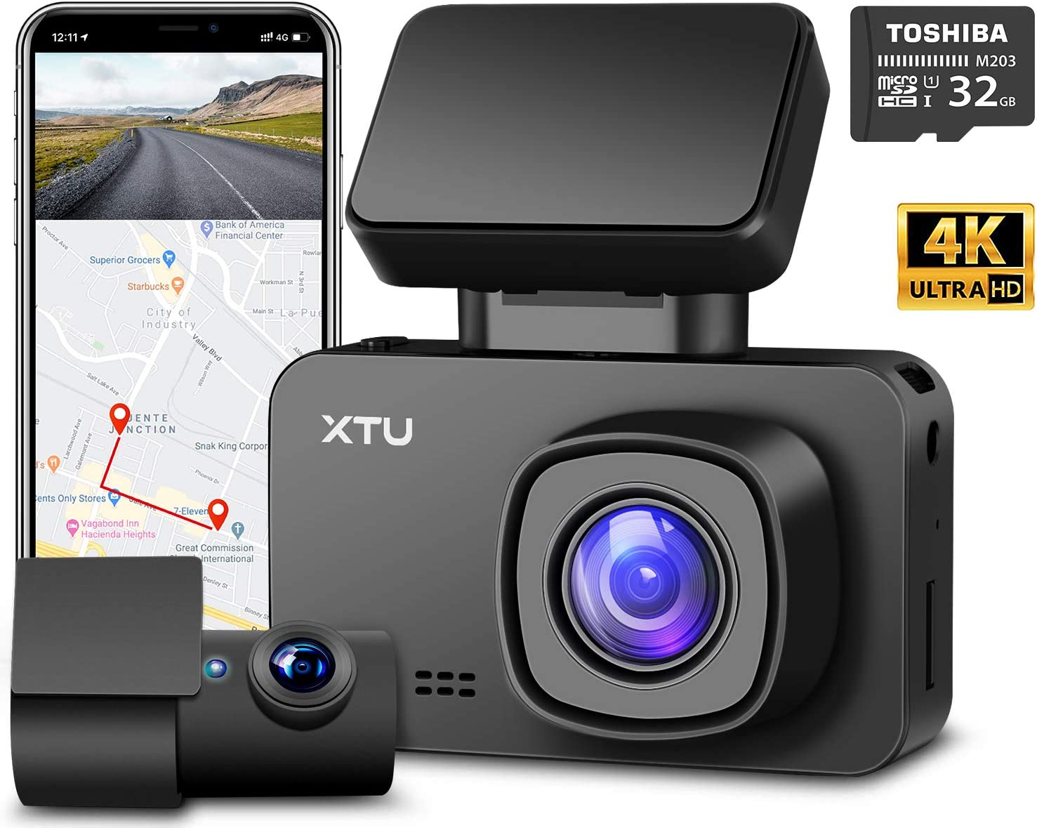 XTU Dash Cam, Front Camera 4K Dual Dash Cam 1440P+1080P, Built-in WiFi GPS Battery, HD Night Vision, Magnetic Mount, Loop Recording, G-sensor, Mini Size, Gesture Snapshot,170° Angel (Free 32G SD Card)