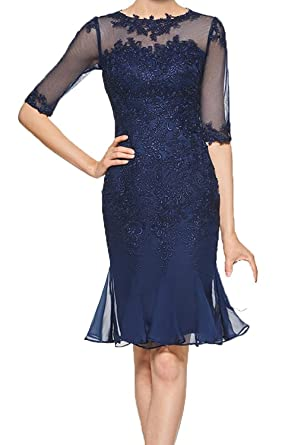 4d198e00903 Navy Blue Knee Length Mother of The Bride Dresses Women Party Dresses at  Amazon Women s Clothing store