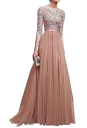 cheap for discount 2836d 52c19 kigins Damen Elegant Ballkleid Spitze Maxikleider Partykleid 3/4 Ärmel  Abendkleid Lang Cocktailkleid Hochzeit Chiffon Kleid