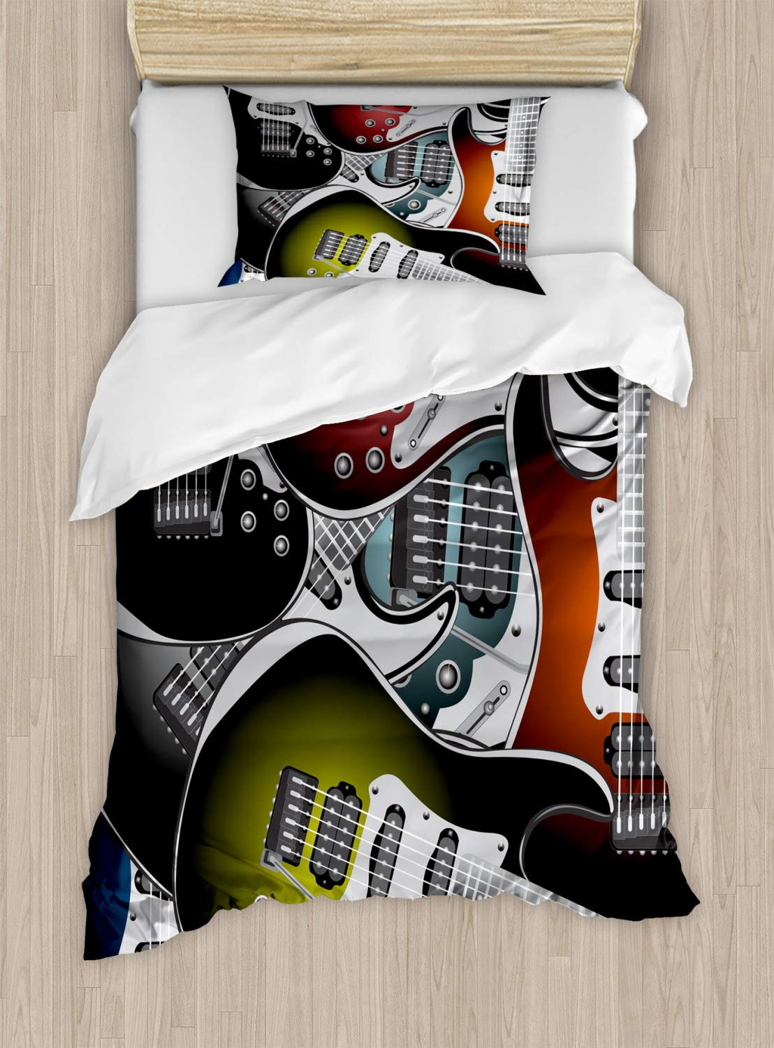 Ambesonne Popstar Party Duvet Cover Set Twin Size, Pile of Graphic Colorful Electric Guitars Rock Music Stringed Instruments, Decorative 2 Piece Bedding Set with 1 Pillow Sham, Black Coral