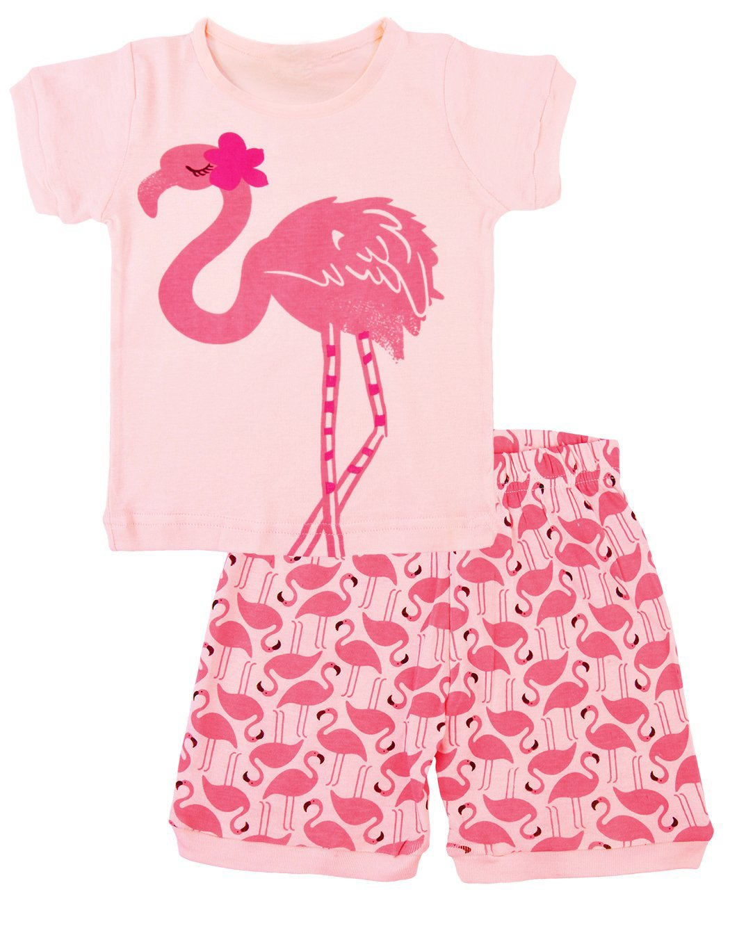Girls Bird Pajamas Short Summer Clothes 100% Cotton Toddler Sleepwear for Kids Size 2T-7T (2T, Pink)
