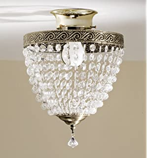 Evelots antique clip on shade vintage diamond cut acrylic dome beaded light cover mozeypictures Images