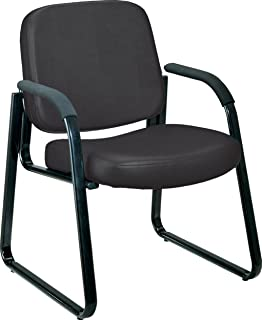 ofm vinyl guest reception chair with arms black