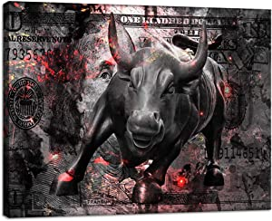 Large Modern Canvas Wall Art Charging Bull Wall Street Bull for Home and Office Decoration Animal Pictures Print Art on Canvas Poster Prints Giclee Artwork for Wall Decor Ready to Hang - 30