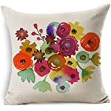 Gotd NEW Flowers Merry Christmas Pillow Case Xmas 18 x 18 Cushion Cover Merry Chritmas Home Decor Design Throw Pillow Cover Pillow Case 18 x 18 Inch Cotton Linen for Sofa (B)