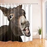 NYMB Animal Lover Cute Funny donkey Shower Curtain in Bath 69X70 inches Mildew Resistant Polyester Fabric Bathroom Fantastic Decorations Bath Curtains Hooks Included (Multi5)
