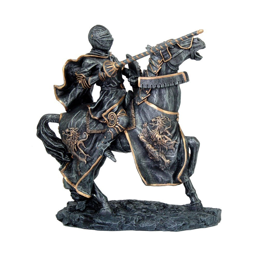 Medieval Fantasy Calvary Knight on Battle Horse Ready for Jousting Pewter Gray Finish with Gold Accent Collectible Figurine