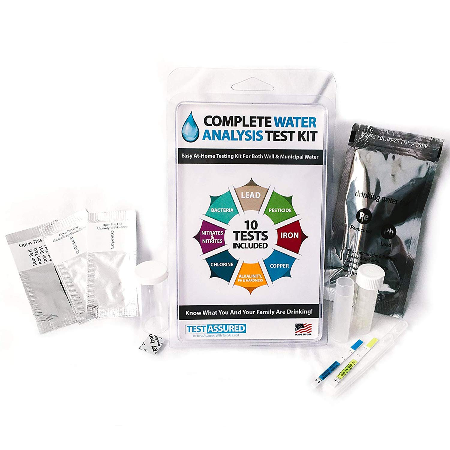 Drinking Water Test Kit - 10 Minute Testing For Lead Bacteria Pesticide Iron Copper and More by Test Assured