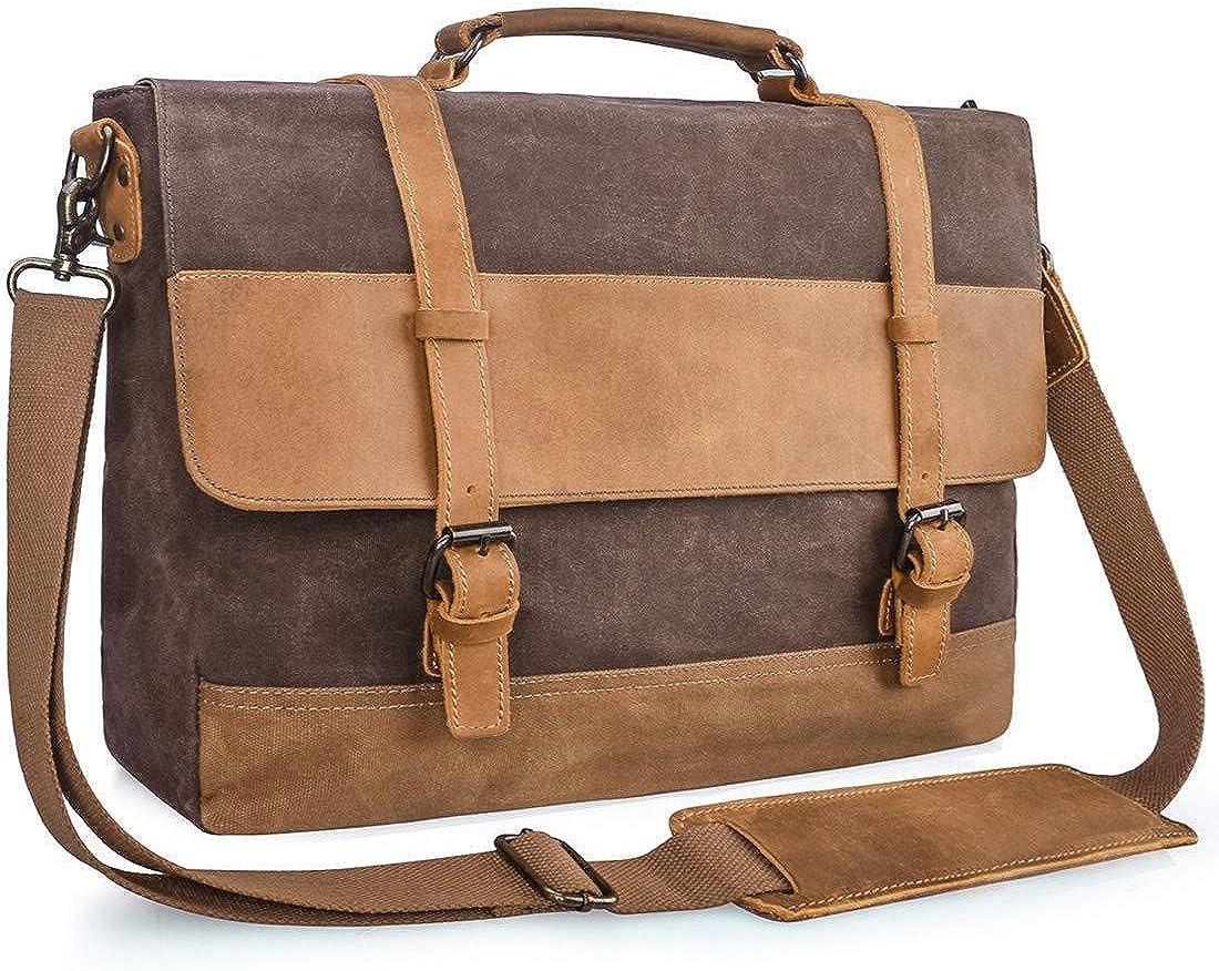 Mens Messenger Bag 15.6 Waterproof Leather Canvas Briefcase Computer Laptop Bag