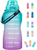 Giotto Large 1 Gallon Motivational Water Bottle with Paracord Handle & Removable Straw - Leakproof Tritan BPA Free…