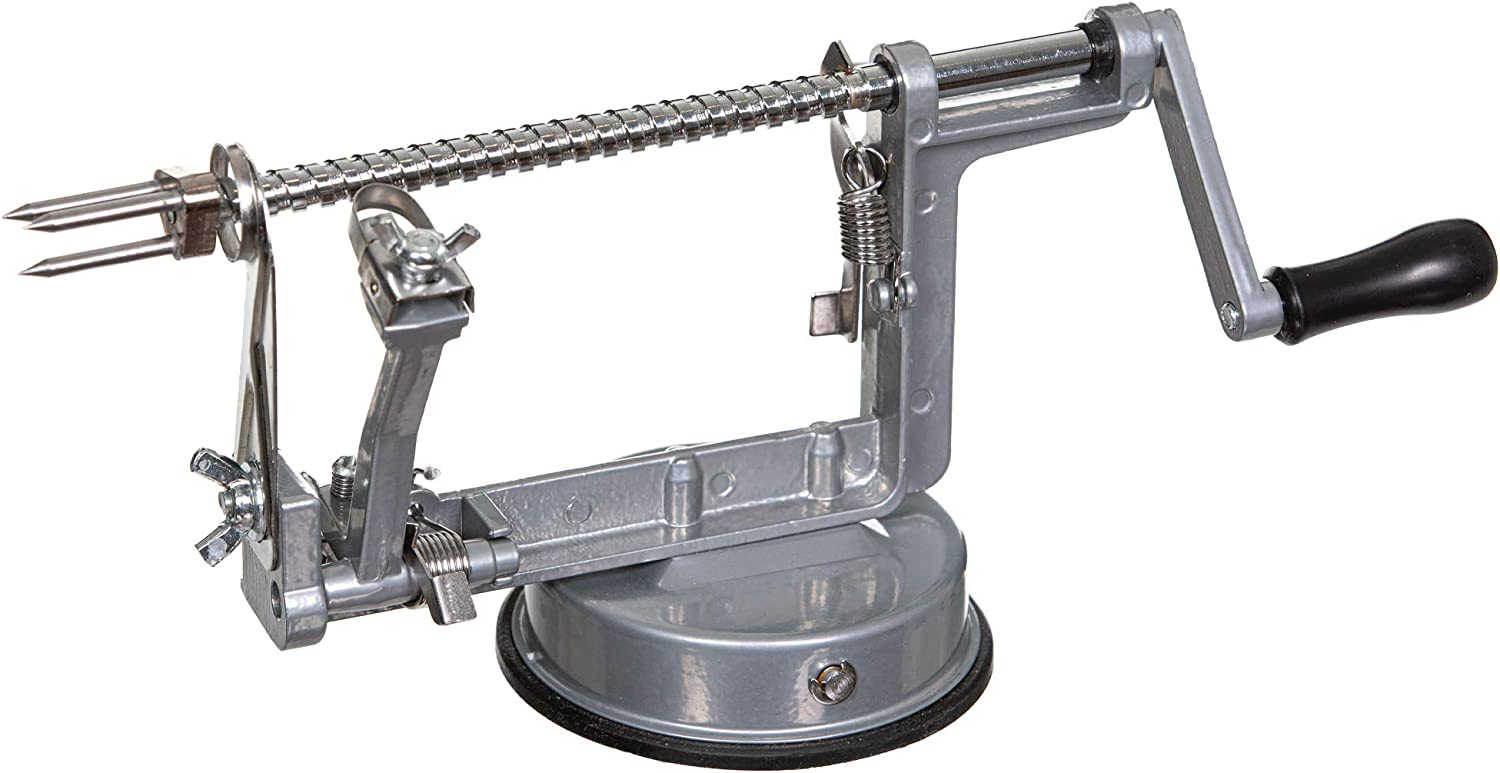 Apple Peeler, Slicer, Corer and Spiralizer with Sturdy Suction Base; Sleek Grey and Stainless Steel Design - Heavy Duty and Durable Apple Peeler by Heczy