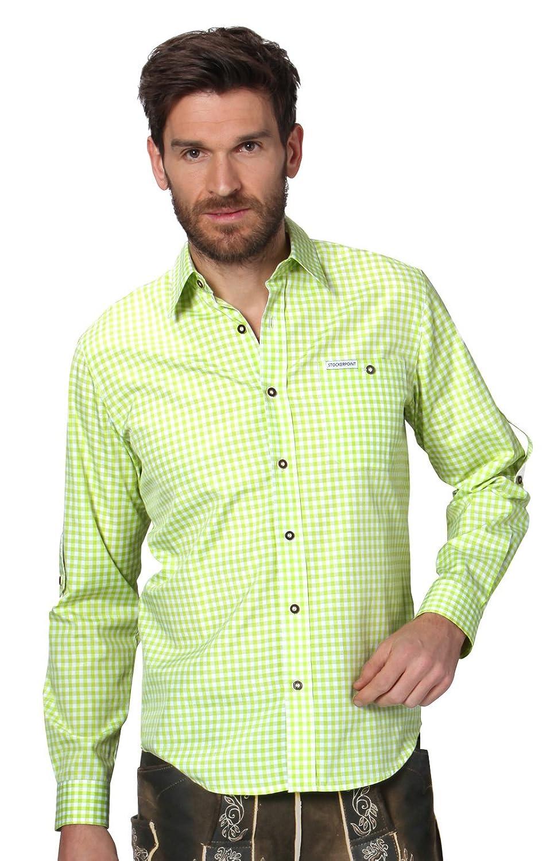 Trachtenhemd Campus2 - stilvolles, kariertes Hemd für viele Gelegenheiten, exklusives Hemd mit Klasse für Männer mit Modebewusstsein und einem Faible für ländliche Gebräuche in Apfelgrün