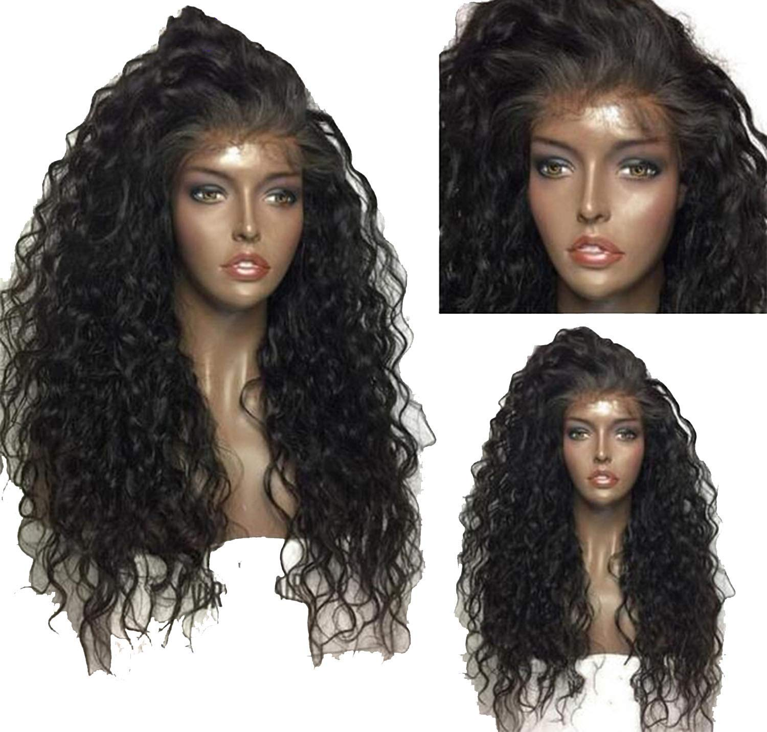 Glueless Pre Plucked Lace front Human Hair Wigs Curly Wig Human Hair With Baby Hair Tshirt,Natural Color Tshirt,8inches